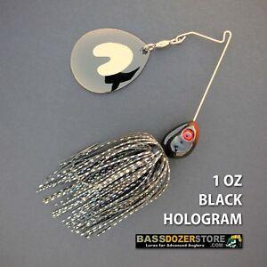 Bassdozer-spinnerbaits-SHORT-ARM-THUMPER-1-oz-BLACK-HOLOGRAM-BLN-spinner-bait