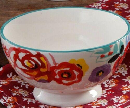 "Pioneer Woman Stoneware Flea Market Floral 6/"" Footed Soup Bowl Multicolor NEW"
