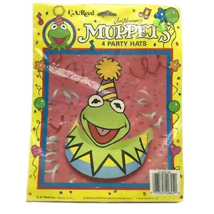 Vintage-Jim-Henson-039-s-Kermit-The-Frog-Muppets-Party-Hats-Set-of-4-C-A-Reed-1989