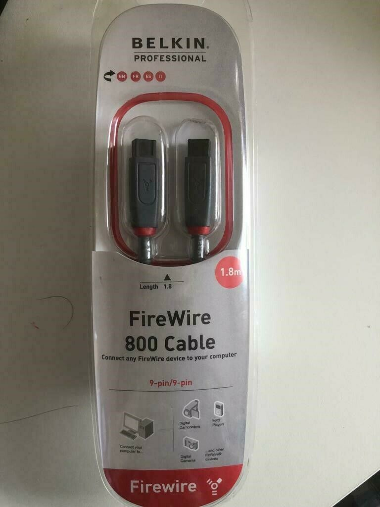 BELKIN PROFESSIONAL FIREWIRE 800 to 800 9 Pin to 9 Pin Cable Lead 1.8M