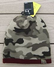 NWT UNDER ARMOUR UA 2-Way Mens Reversible Camo Knit Beanie Hat-OSFM @$30 MAROON
