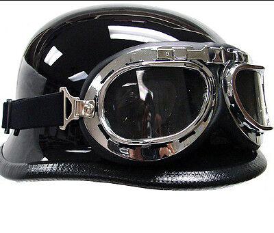 WWII RAF Vintage Aviator Pilot Chrome Motorcycle Half German Helmet Goggles