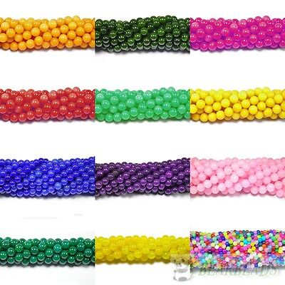 Top Quality Dyed Jade Gemstone Round Ball Spacer Loose Beads Assorted Colors 16""