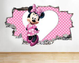 H082 Minnie Mouse De Kinderzimmer Fille Ba Autocollant Chambre 3d