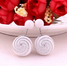 DOUBLE GLOSS WHITE & SILVER PEARL BEAD BALL STUD EARRINGS