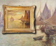 Marineros en la puerto. Holl-islas Paisaje marino,orig. antiguo Pintura al óleo