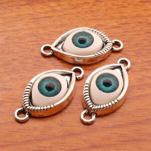 7133-10-Pieces-3D-Evil-Eye-Protection-Charm-Linker-DIY-Jewelry-Bracelet-Silver