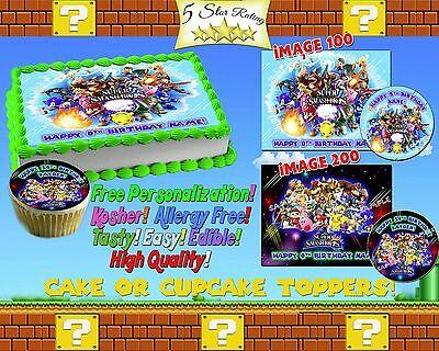 Super Mario Bros 2 Edible cake cupcake tops topper image picture sugar sticker