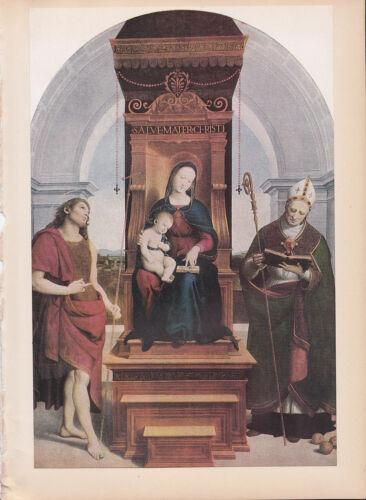 "1939 Vintage /""THE ANSIDEI MADONNA/"" /& JESUS by RAPHAEL Color Art Plate Lithograph"