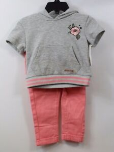 HUDSON-Infant-Girls-2-piece-Short-Sleeve-Sweatshirt-Pants-Outfit-Gray-Coral