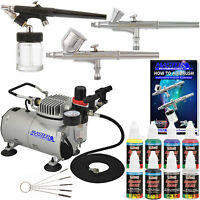 3 Airbrush Kit 6 Primary Colors Air Compressor Dual-action Hobby Set