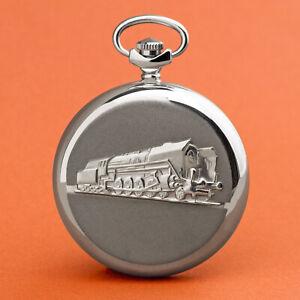 MOLNIJA-Taschenuhr-3602-Eisenbahn-Lok-russische-mechanische-Uhr-Lokomotive