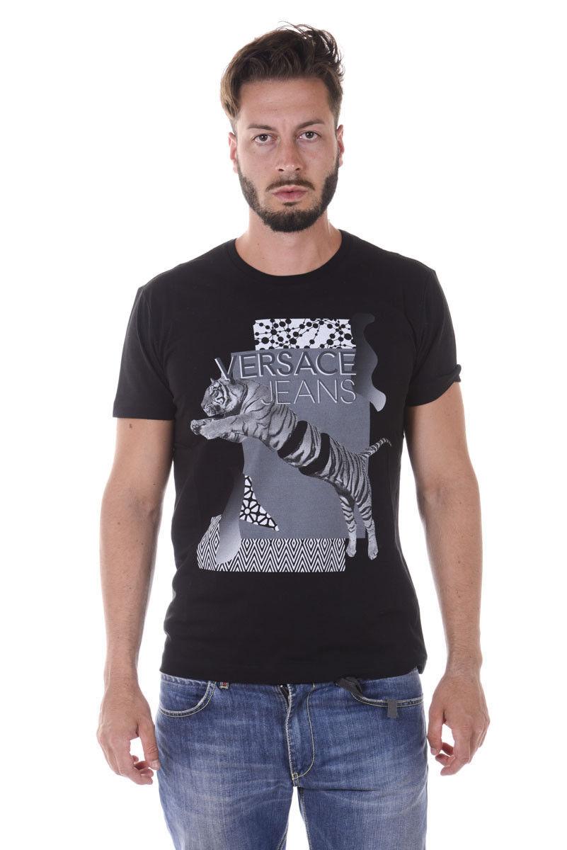 T shirt Maglietta Versace Jeans Sweatshirt REGULAR Cotone Uomo Nero B3GQA7D8 899
