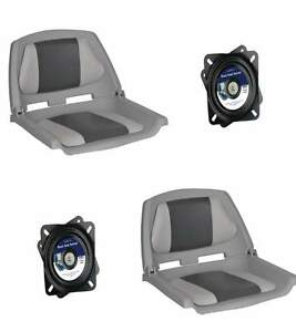 Folding-Moulded-Padded-Boat-Seat-Grey-Charcoal-and-Swivel-x-2