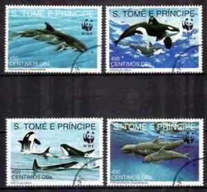 """St Thomas et Prince 1992 Poissons (44) Yvert n° 1080 à 1083 oblitéré used - France - Commentaires du vendeur : """"série complte de 6 timbres oblitérés"""" - France"""