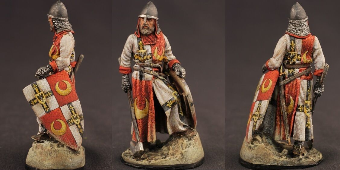 Tin toy soldiers ELITE painted 54 mm  Template Warrior with axe - XIII Century