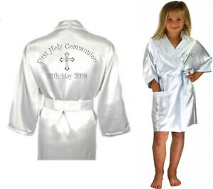Children-039-s-Personalised-Holy-Communion-Confirmation-Day-Satin-Silky-Robe-Child-039-s