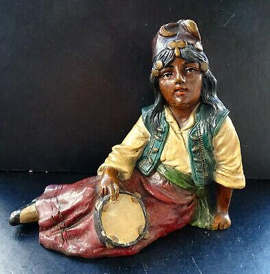 Johann Maresch Orientalin Mit Tamburin Antike Terracotta Figur Siderolith 1900 Ein Unbestimmt Neues Erscheinungsbild GewäHrleisten