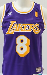 9b68e5be Kobe Bryant LA Lakers Purple Hardwood Classics #8 Throwback Jersey ...