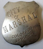 City Marshal Us Colorado Springs Western Badge Of The Old West Pin Bw-46