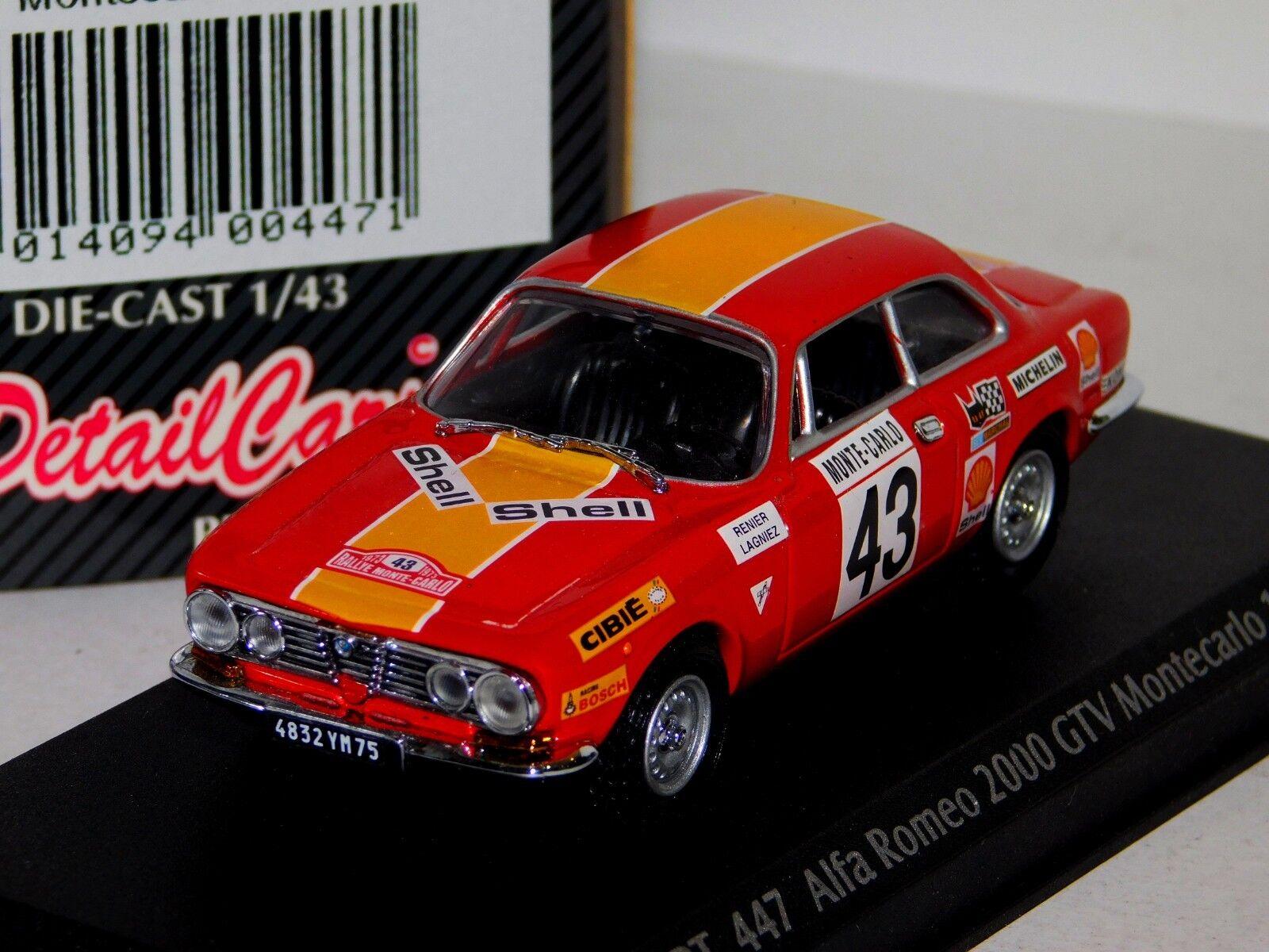 ALFA ROMEO 2000 GTV MONTE CARLO 1972 LAGNIEZ RENIER DETAIL CARS ART 447 1 43