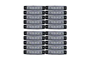 20 x 6 LED 24v Seitenmarkierungsleuchten weiß Leuchte Lampe Anhänger Transporter