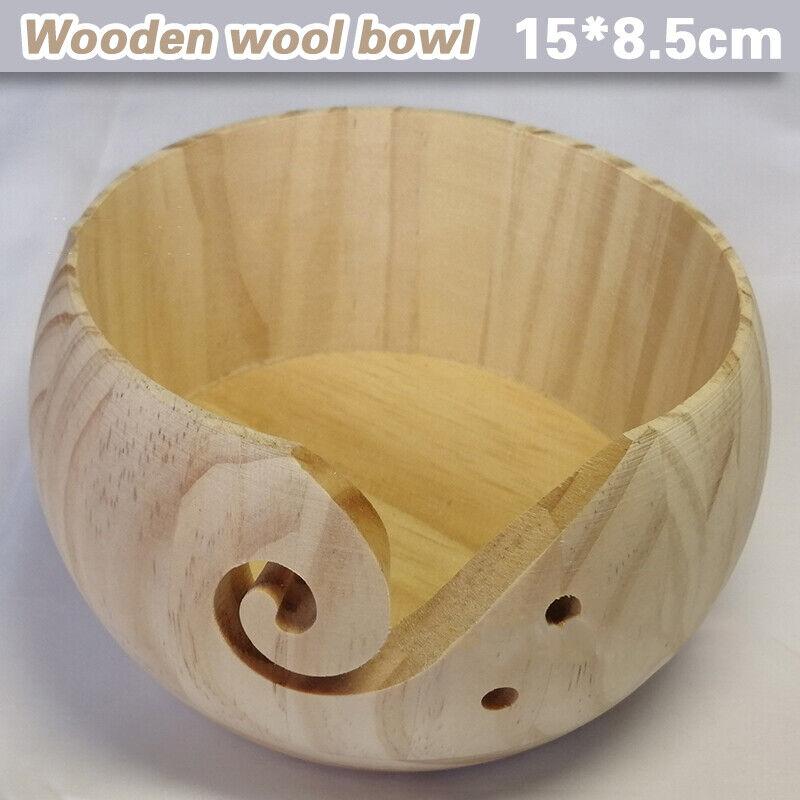 Holz-Schale handgefertigt Wollschale Bambus-Garnschale mit L/öchern Stickschere