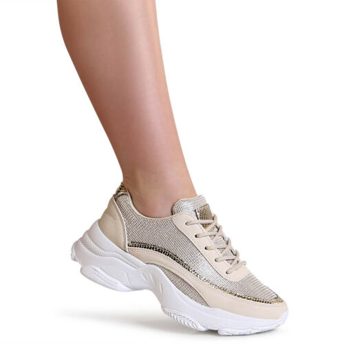 Damen Chunky Sneaker Plateau Halbschuhe Turnschuhe Mesh Derby