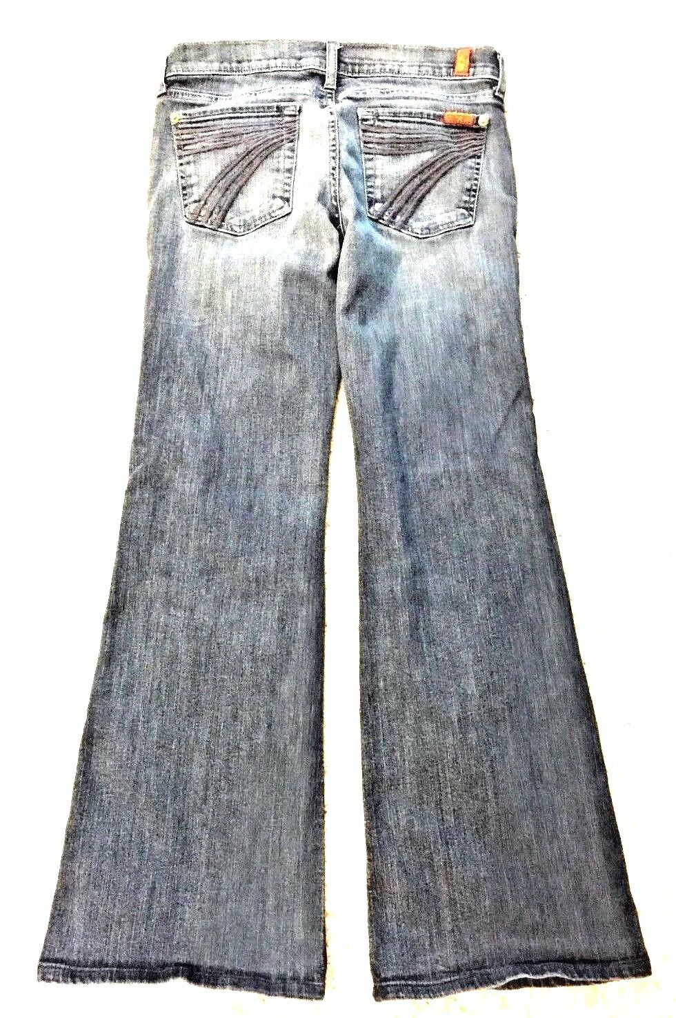7 For All Mankind Women's Dojo Jeans Medium Wash Flare Boot Cut Size 28 X 29.5