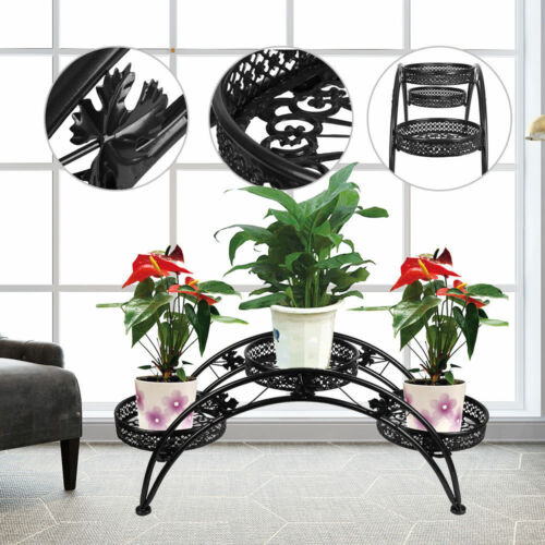 3 Tier Arch Metal Potted plant Stand with 3 holders Potted Plant Rack Organizer