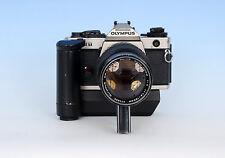 OLYMPUS OM-4T SILVER SLR 35mm FILM CAMERA - ZUIKO 75-150 ZOOM LENS - AUTO WINDER