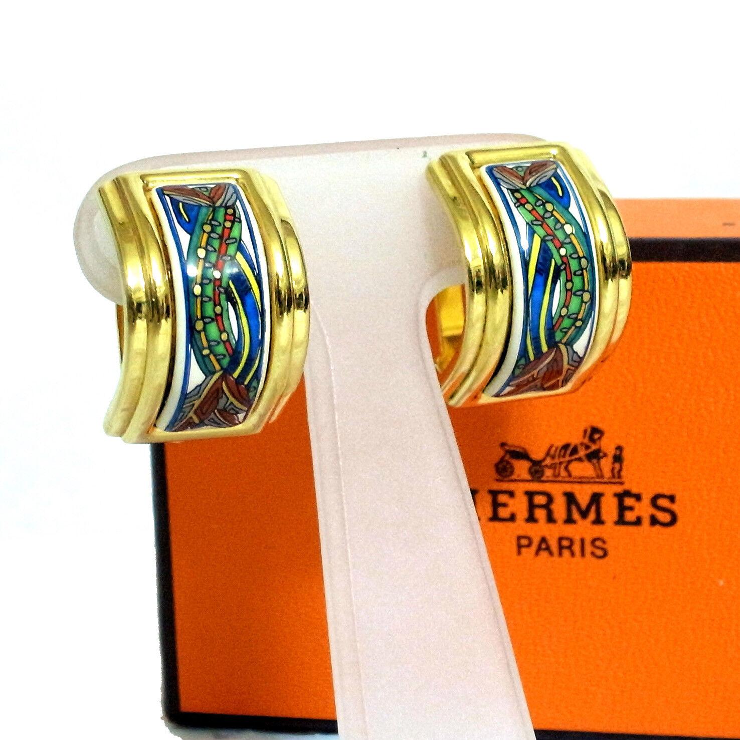 Authentic HERMES Clip-on Earrings Multicolor goldtone Enamel Metal in Box Vintag
