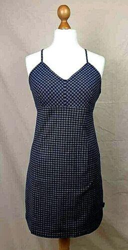 Trespass Dress Navy Check Surfwear Beach Dress Stretch Fit Size M Brand New