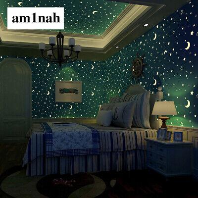 Glow Effect Night Sky Design Star And Moon Luminous Wallpaper Kids Ceiling Decor Ebay
