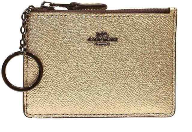 Coach Platinum Gold Ladies Mini Skinny ID case 87077 Gun Metal Top Zip Key FOB