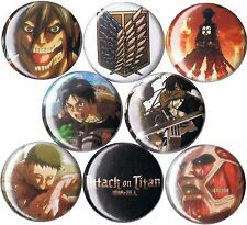 set of 8 Attack on Titan pins buttons badges shingeki no kyojin anime giant