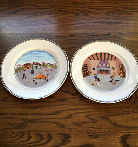 Set-Of-2-Villeroy-amp-Boch-Design-Naif-Salad-Plates-8-034-Luxembourg