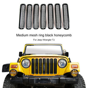 Black-Front-Honeycomb-Grille-Inserts-Net-Cover-For-Jeep-Wrangler-TJ-1997-06-7pcs