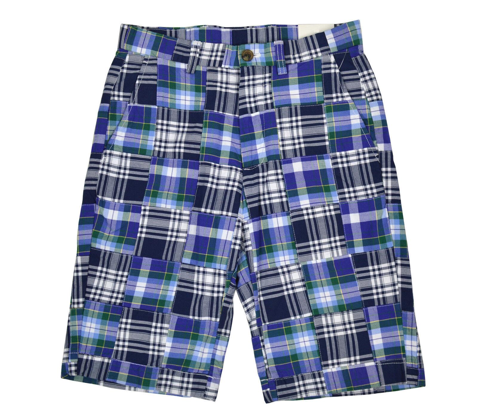 Brooks Brojohers Mens Plaid azul Madras  Pathwork Algodón Pantalones Cortos Talle 5156-4 29 W  forma única