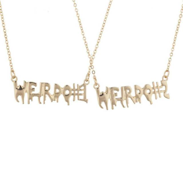 Lux Accessories Girl Gang Best Friends BFF Nameplate Necklace Set 2PC