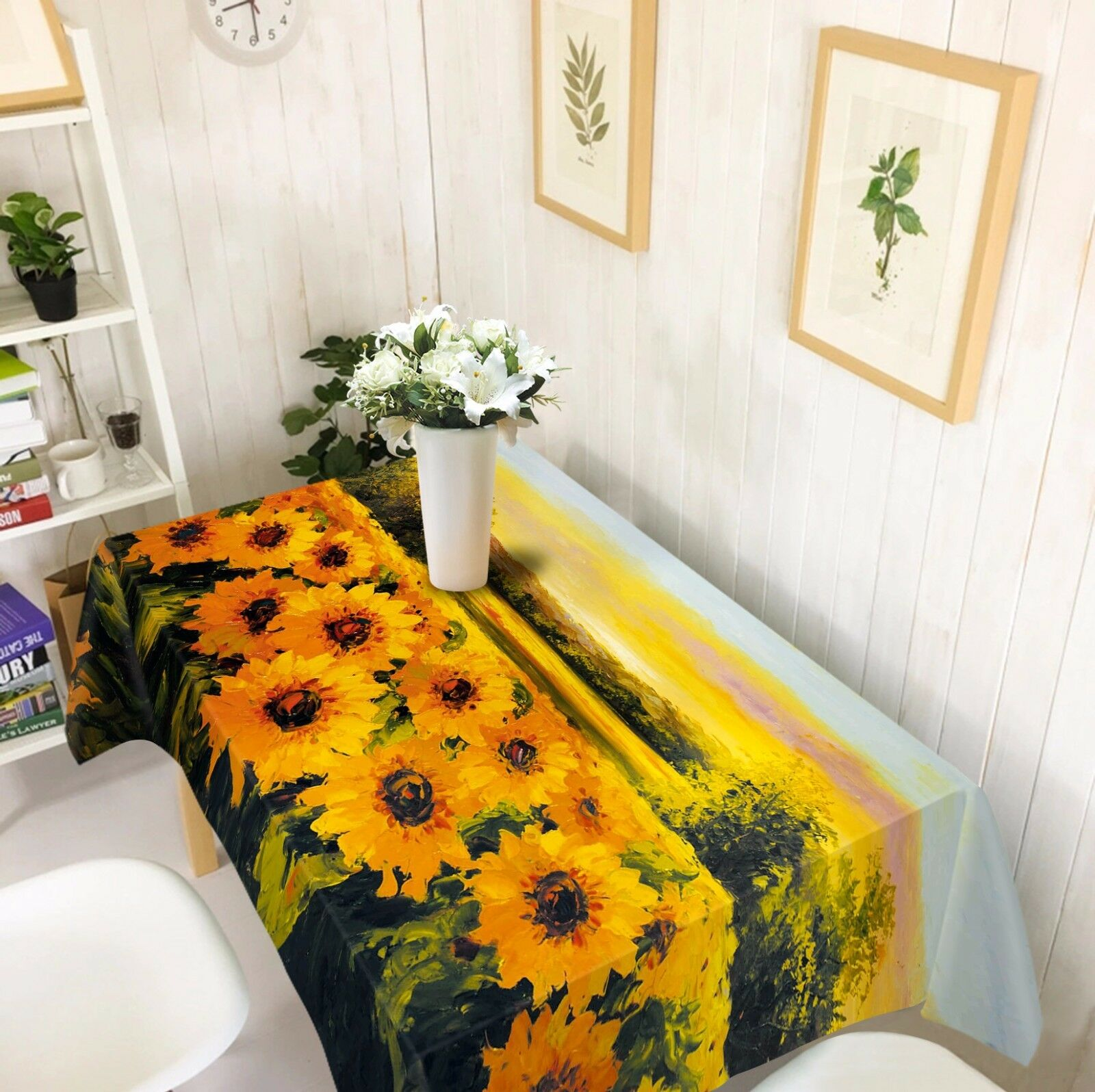 3D Sunflower 4 Tablecloth Table Cover Cloth Birthday Party AJ WALLPAPER UK Lemon