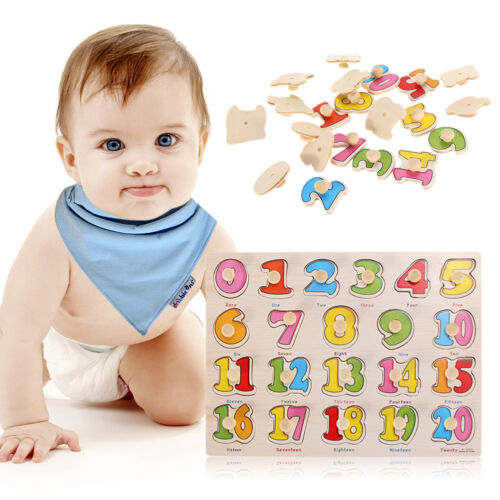 Preschool Wooden Learning Puzzle Toys Baby Kids Educational Number 1-20 Digital