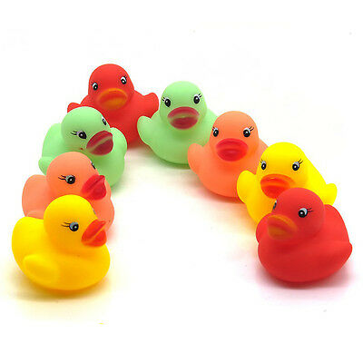 Hot 12Pcs Mini Bathtime Rubber Ducks Baby Kids Bath Toy Squeaky Water Play Fun
