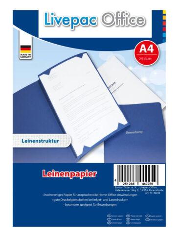 ideal für Bewerbung DIN A4 120g//m² 25 Blatt Leinenpapier