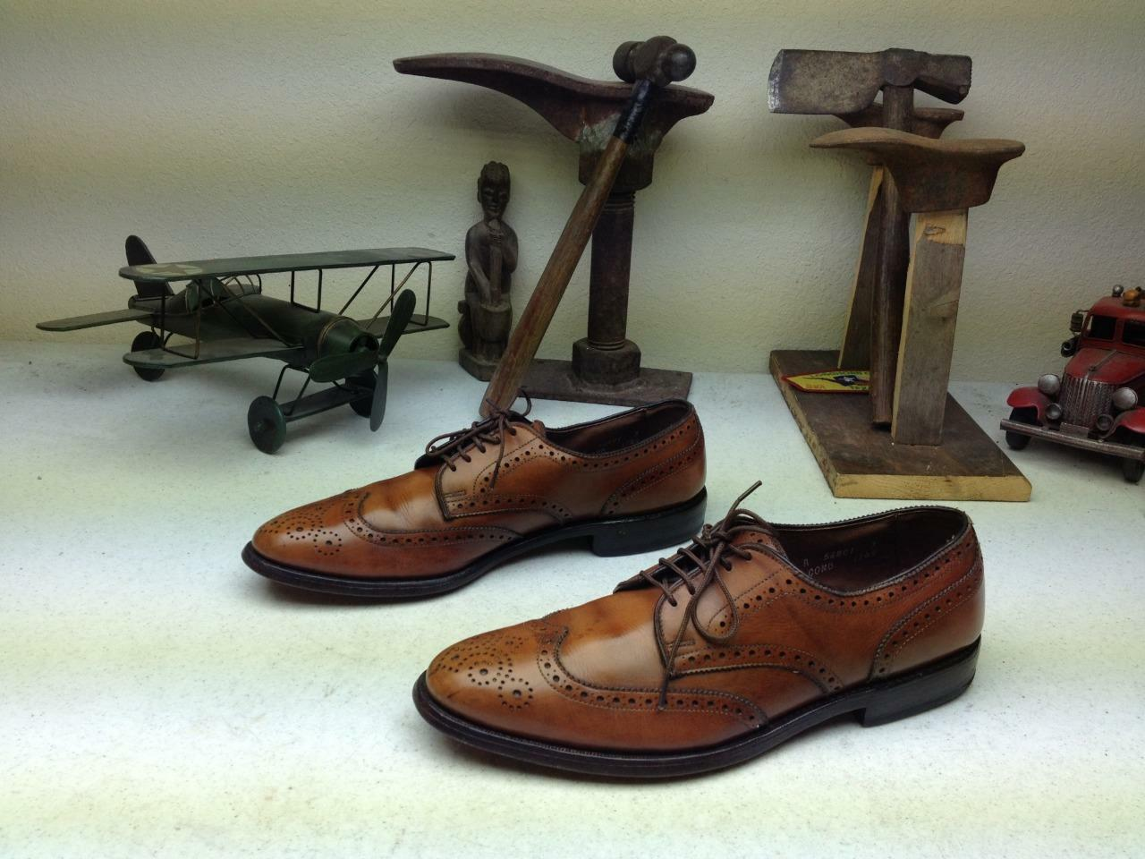 DISTRESSED BROWN BROWN BROWN WING TIP ALLEN EDMONDS CONCORD LACE UP SATURDAY SHOES 9.5 A 5dae4b