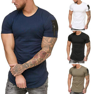 Mens-Summer-Short-Sleeve-T-Shirt-Arm-pocket-Basic-Tee-Workout-Sport-Gym-T-Shirt