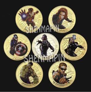 Marvel-The-Avengers-Final-Battle-Cartoon-Movie-Gold-Plated-Coin-7-pcs-set