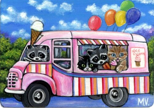 Original Raccoon Kitten Summer Cone or Cup Ice Cream Truck Spring ACEO Print