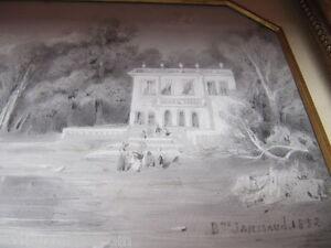 TABLEAU-DESSIN-SIGNE-B-JANSSAUD-1832-AVEC-CADRE