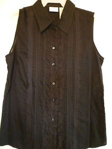 3f84f47648d65 Details about New Womes Small 4 6 black lace button down collared tank top  thin tunic blouse